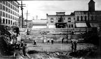Construction of the Bellin-Buchanan building on the southwest corner of Washington and Walnut in Green Bay, ca 1915